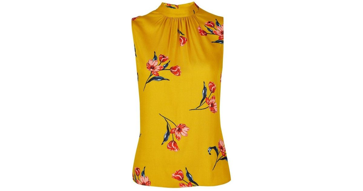 8cc890a7f9a8fd Lyst - Dorothy Perkins Petite Yellow High Neck Floral Print Top in Yellow
