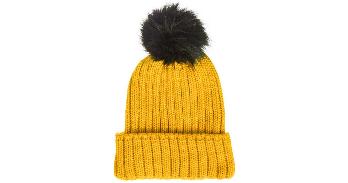 Dorothy Perkins - Yellow Quiz Mustard Knitted Pom Pom Hat - Lyst 53a0af4cd5e