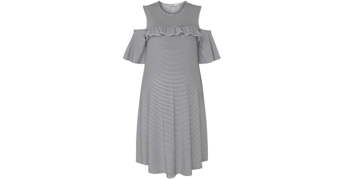 8dd160dbe9 Lyst - Dorothy Perkins Maternity Navy Striped Cold Shoulder Dress in Blue
