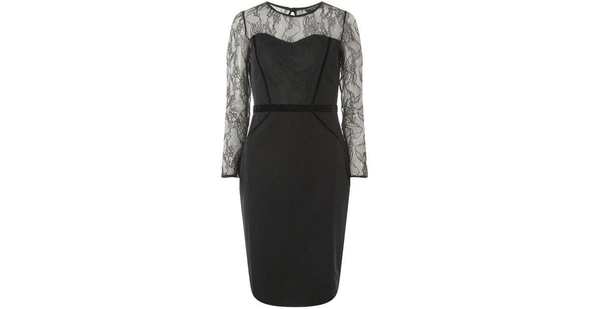 c42b0de38511a Lyst - Dorothy Perkins Black Lace Velvet Pencil Dress in Black