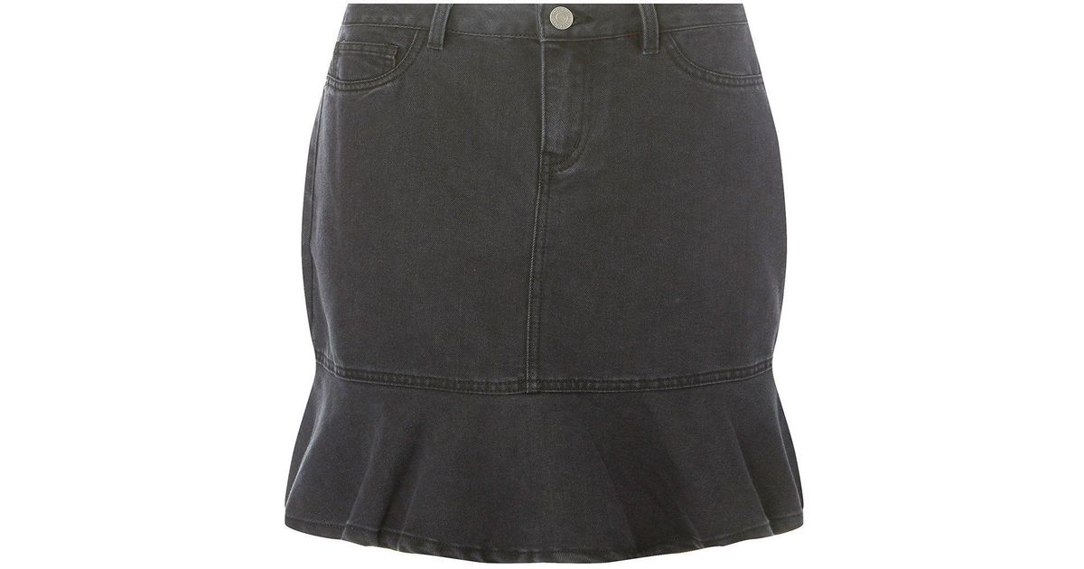 679c0fbb6 Dorothy Perkins Noisy May Black Peplum Denim Skirt in Black - Lyst