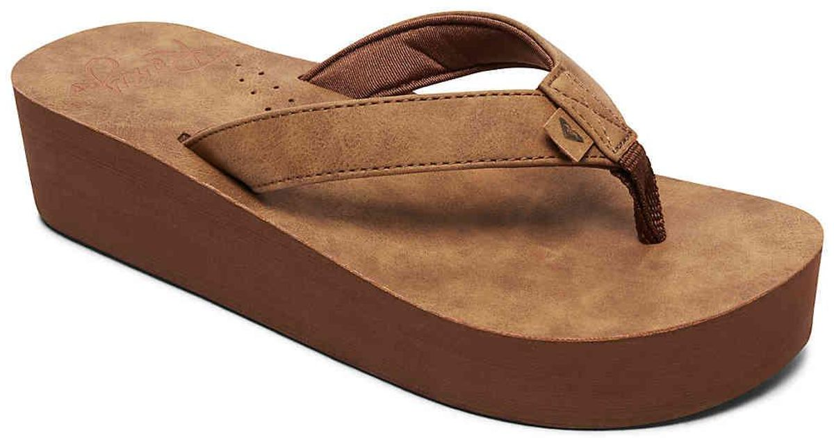 a2f58549a Lyst - Roxy Melinda Wedge Flip Flop in Brown