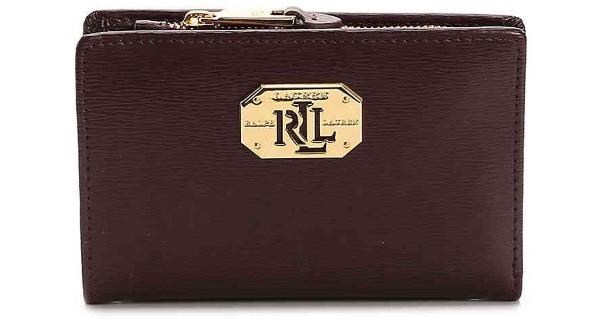 Lyst - Polo Ralph Lauren New Compact Leather Wallet in Purple e05f60fd64