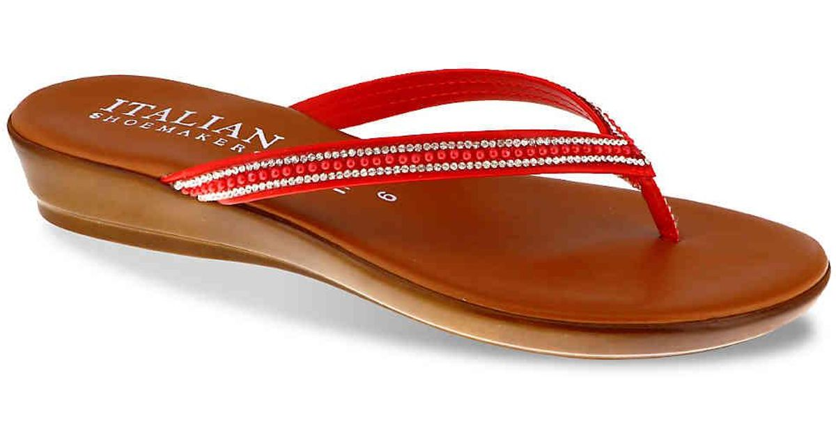 9dbe1afcf73 Lyst - Italian Shoemakers Medley Wedge Sandal in Red