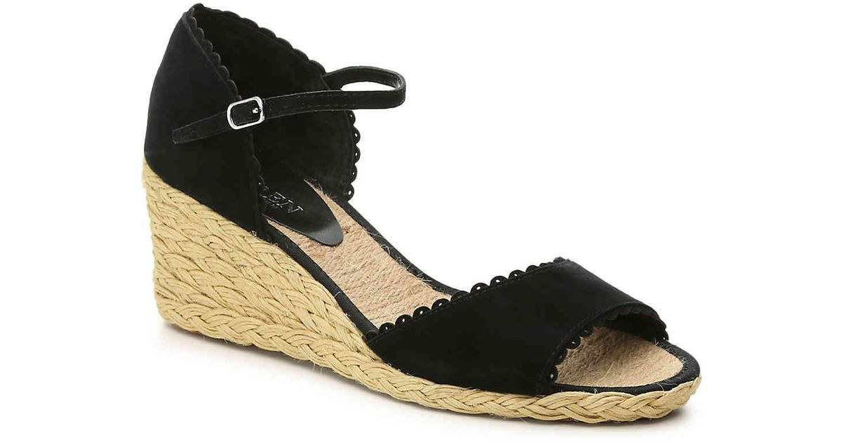 51c1db802c13 Lauren by Ralph Lauren Chrissie Wedge Sandal in Black - Lyst