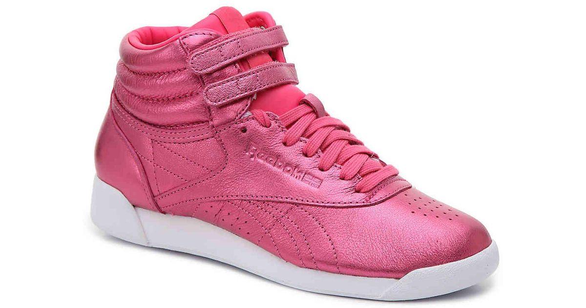 Lyst - Reebok Metallic High-top Sneaker in Pink cd1602d05