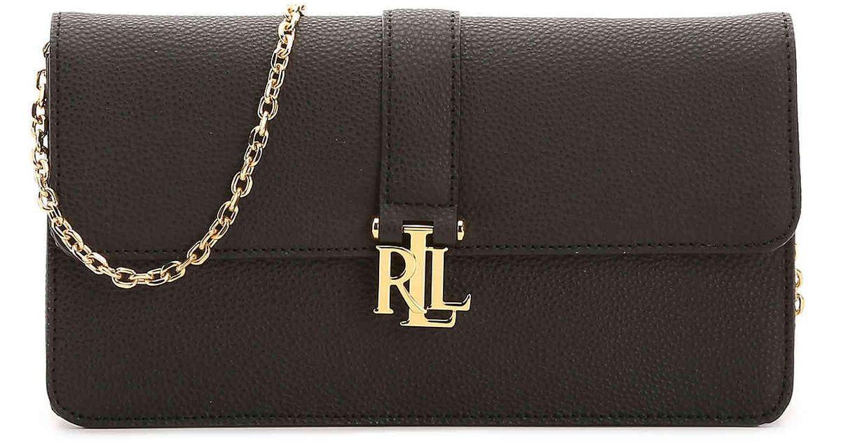 65cc96d963 Lyst - Lauren by Ralph Lauren Carrington Farrah Leather Shoulder Bag in  Black