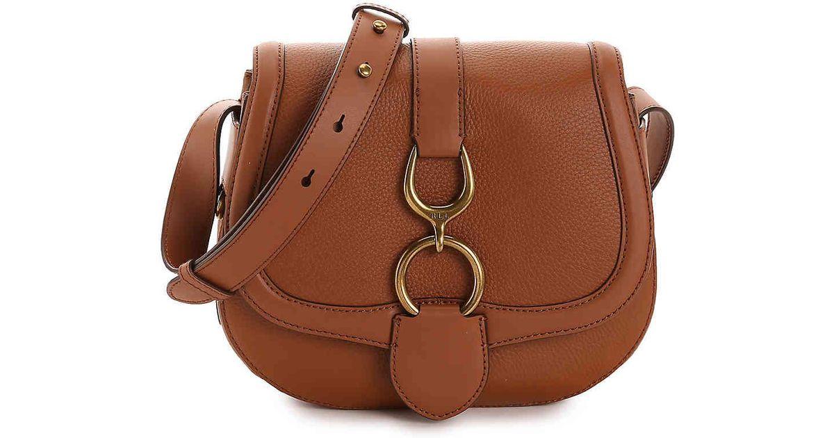 2771547a2d19 Lyst - Lauren by Ralph Lauren Barrington Leather Crossbody Bag in Brown