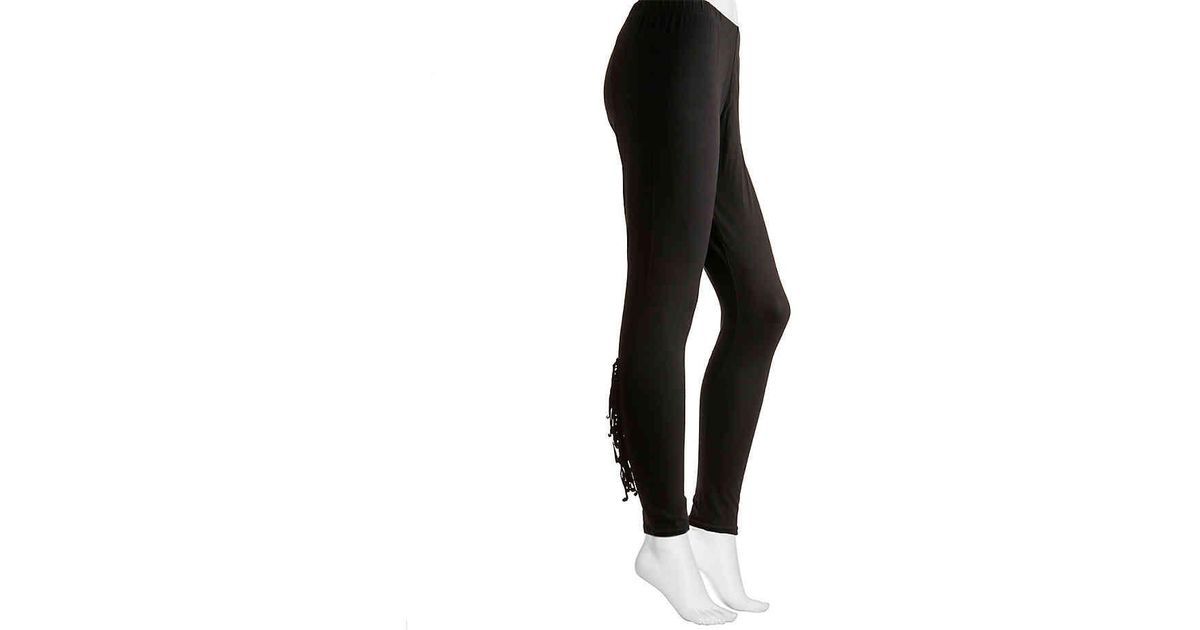 95c18c82fe2f7 Lyst - Jessica Simpson Fringe Leggings in Black