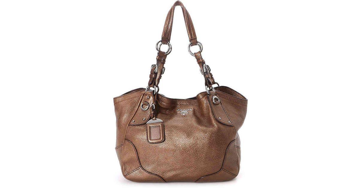a3b168f59da7 Lyst - Prada Cervo Leather Shoulder Bag