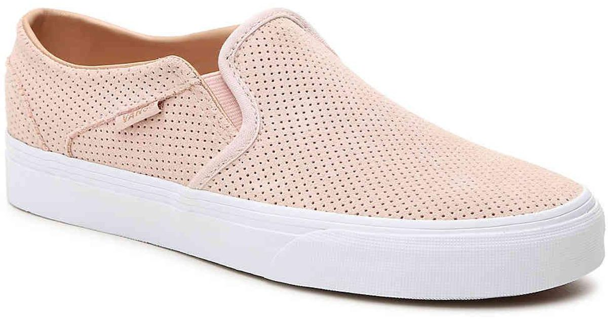 6cc101deed7 Lyst - Vans Asher Perforated Slip-on Sneaker in Pink