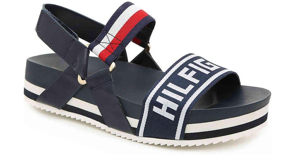 9bad233d9af Lyst - Tommy Hilfiger Bekett Platform Sandal in Blue
