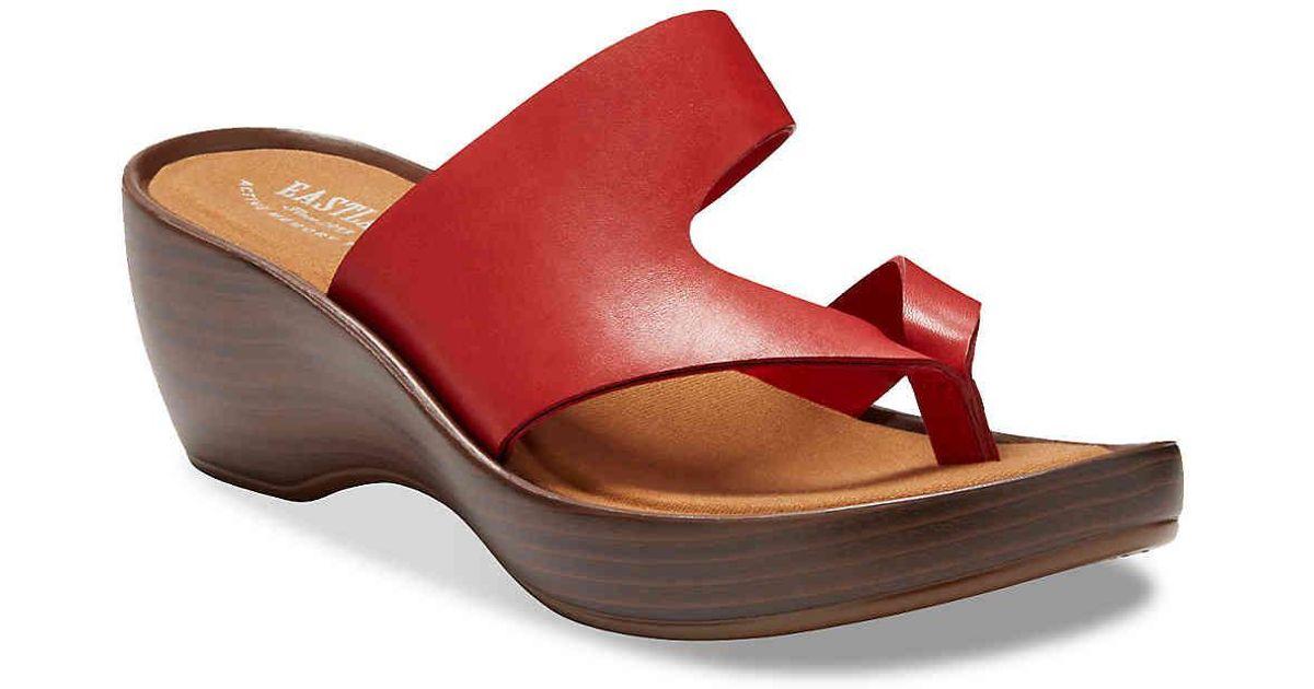 0705943ca1b7 Lyst - Eastland Laurel Wedge Sandal in Red