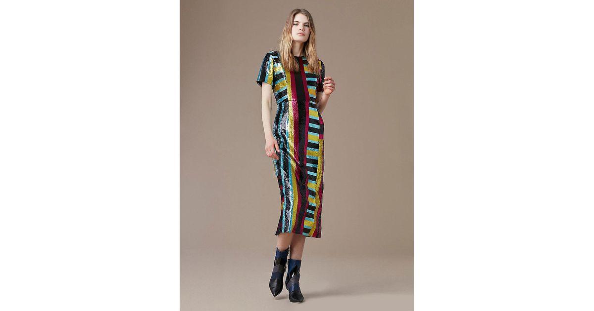 68fac1b0 Diane von Furstenberg Short-sleeve Sequin Dress in Black - Lyst