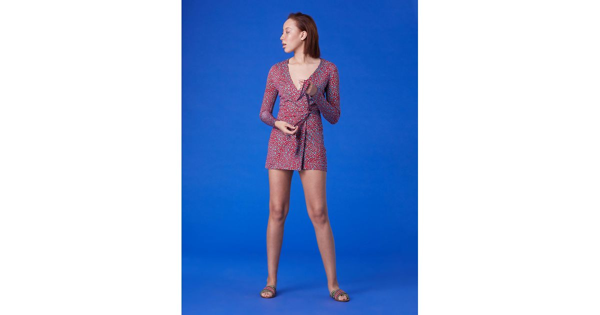 3ec91306f40 Diane von Furstenberg Celeste Long-sleeve Silk Jersey Banded Romper in Blue  - Lyst
