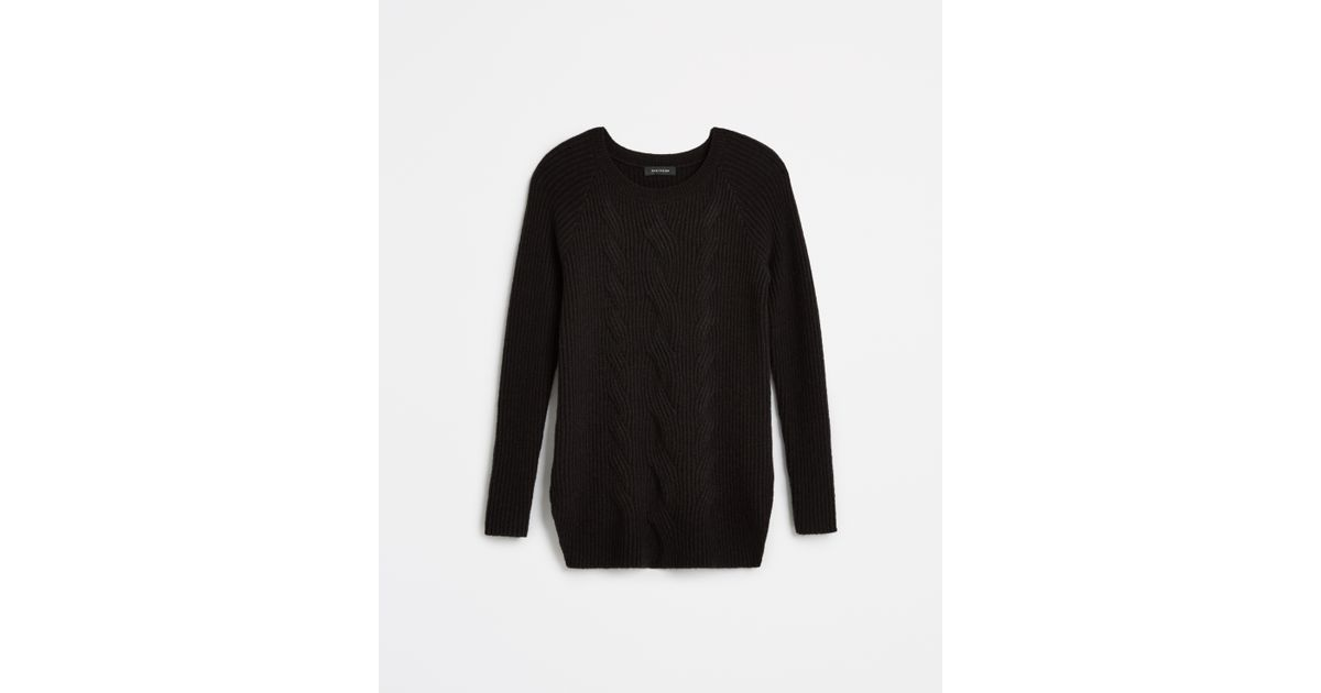 Ann taylor Cable Tunic Sweater in Black | Lyst