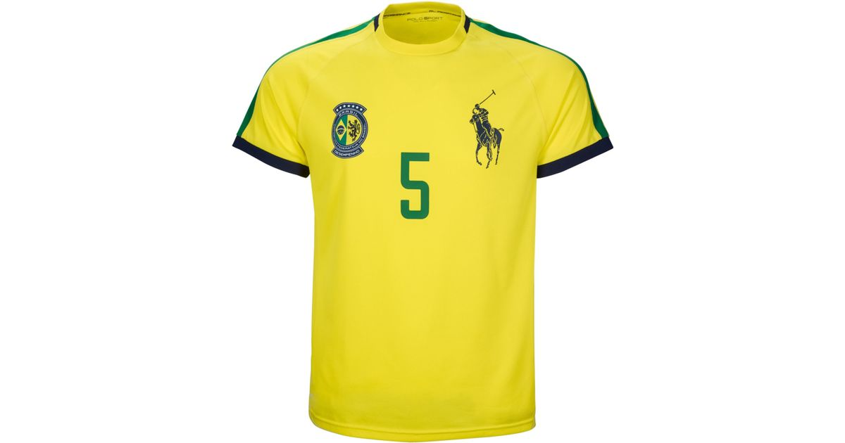 f33406a84ccdf ... cheap lyst polo ralph lauren polo sport brasil performance crew neck t  shirt in yellow for