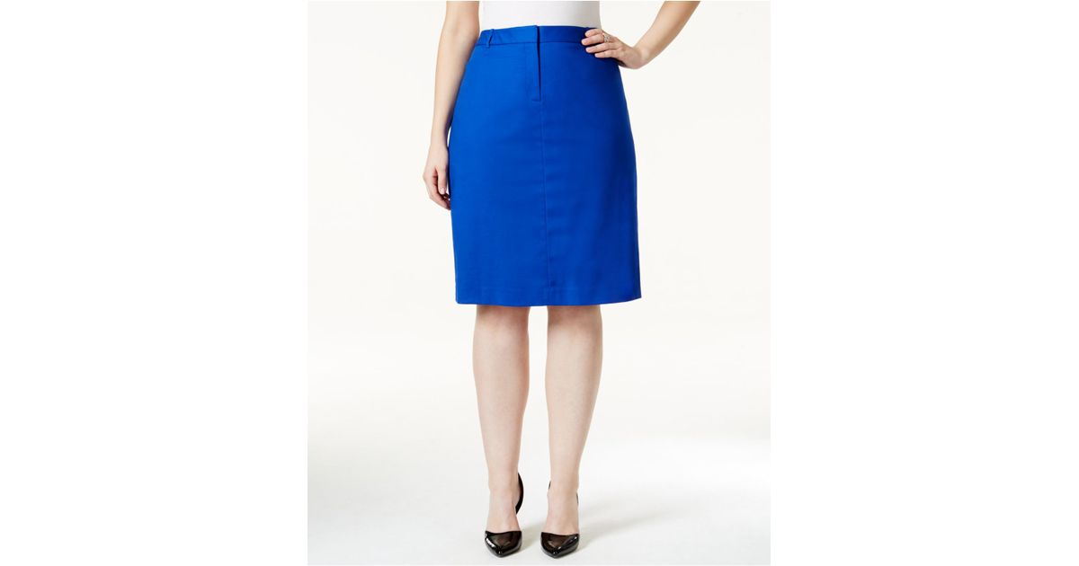 calvin klein plus size belted pencil skirt in blue save