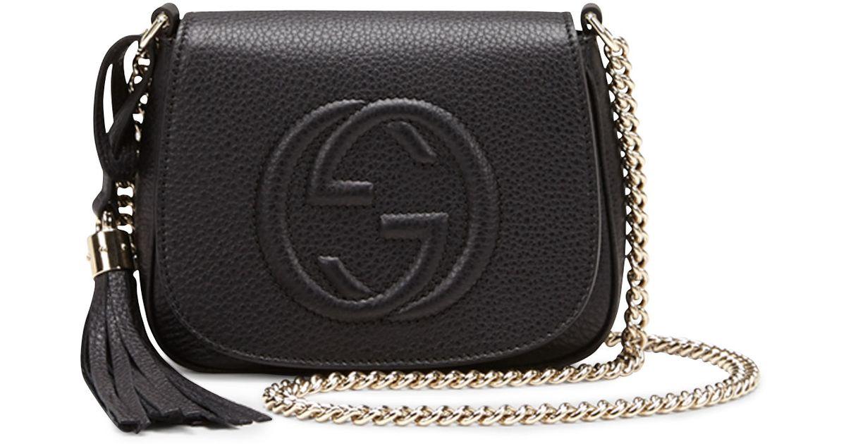 82b071dc3342 Lyst Gucci Soho Leather Chain Crossbody Bag In Black