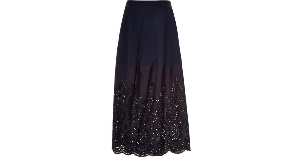 0e397c638 Stella McCartney Penelope Broderie-anglaise Maxi Skirt in Blue - Lyst