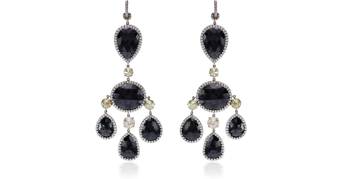 Nina runsdorf One Of A Kind Black Diamond Chandelier Earrings in ...