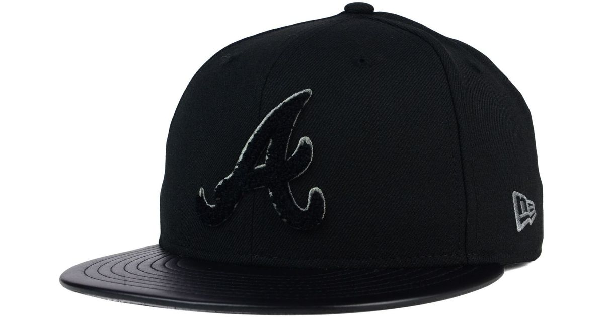 1e62101415a13a ... reduced lyst ktz atlanta braves leather letterman 59fifty cap in black  for men ef06a 9c79e