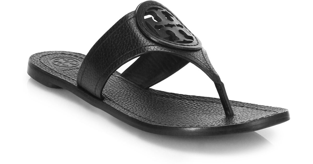 7c8fac1ad860d2 Lyst - Tory Burch Louisa Leather Thong Sandal in Black