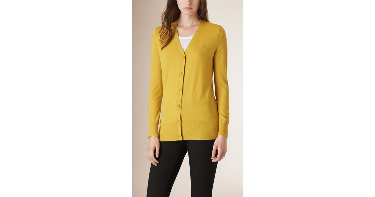 Burberry V-neck Cashmere Cardigan in Yellow | Lyst