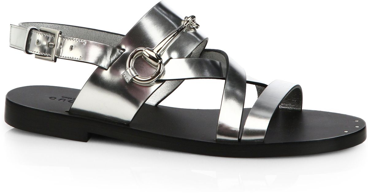20baf8002a76 Lyst - Gucci Juliette Strappy Flat Sandals in Metallic