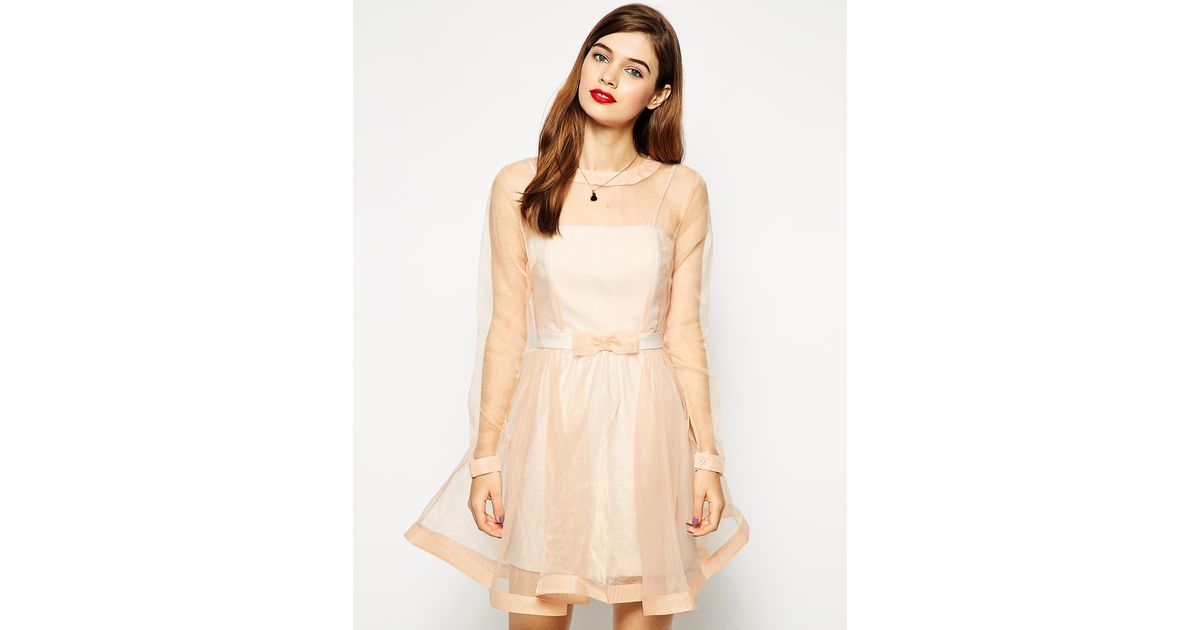 Lyst - ASOS Dolly Bow Prom Dress in Natural defc80383