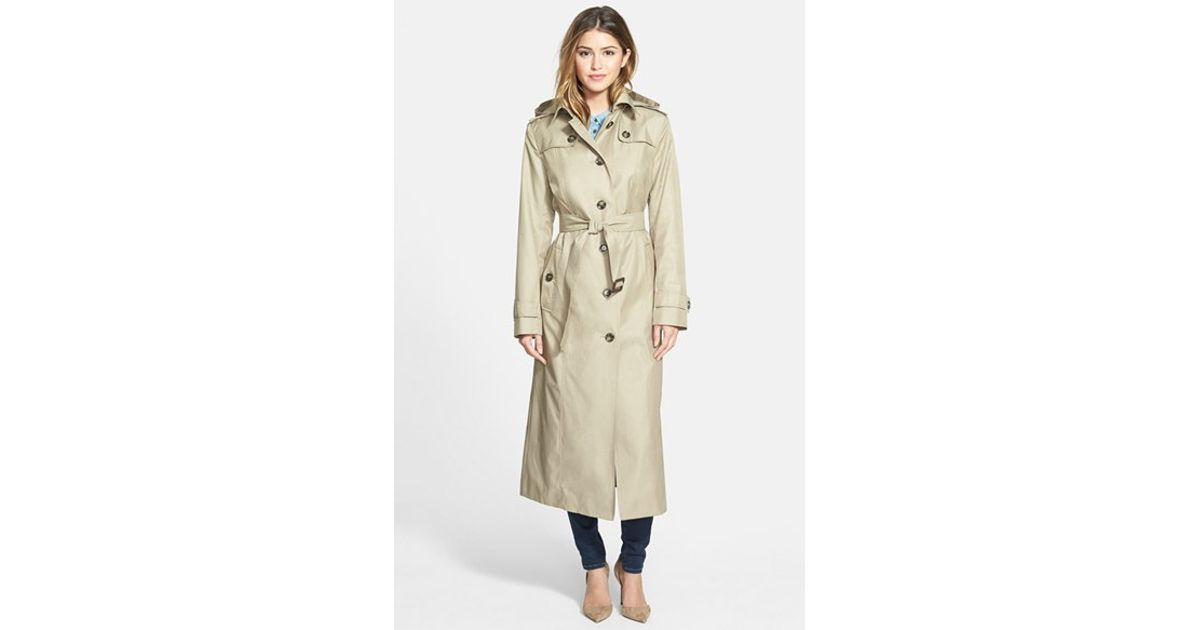 bd648e5bf London Fog - Natural Hooded Long Single Breasted Trench Coat - Lyst