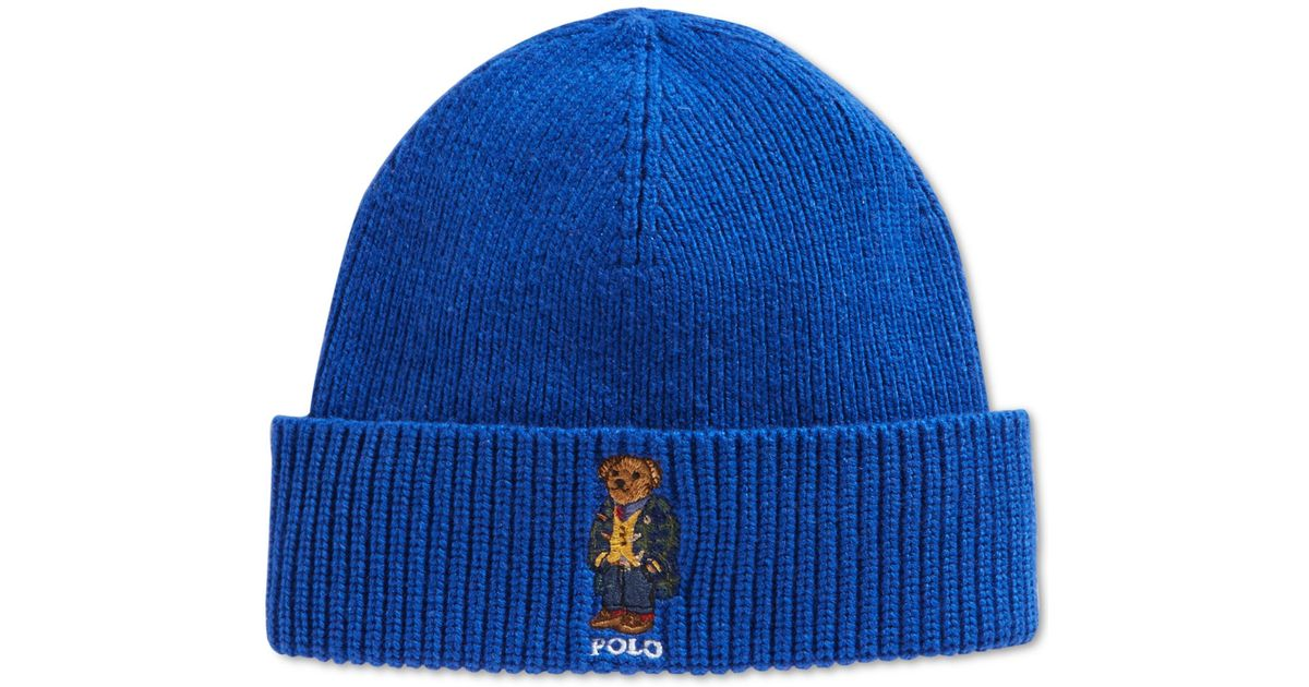 d63fdf03fc7 Lyst - Polo Ralph Lauren Blackwatch Bear Beanie in Blue for Men