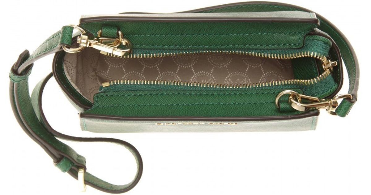 8c4853de95ebb ... where to buy lyst michael michael kors selma mini messenger leather  shoulder bag in green 6e87b