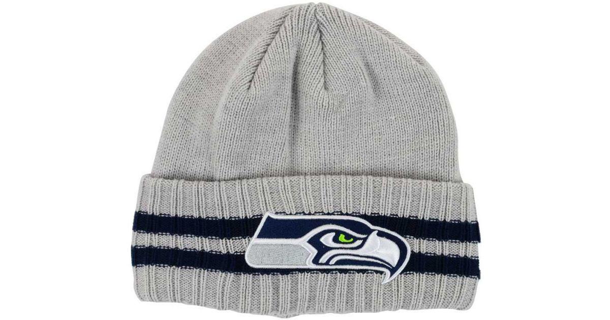 Lyst - Ktz Seattle Seahawks Striped Cuff Knit Hat in Gray for Men 436ee3e84