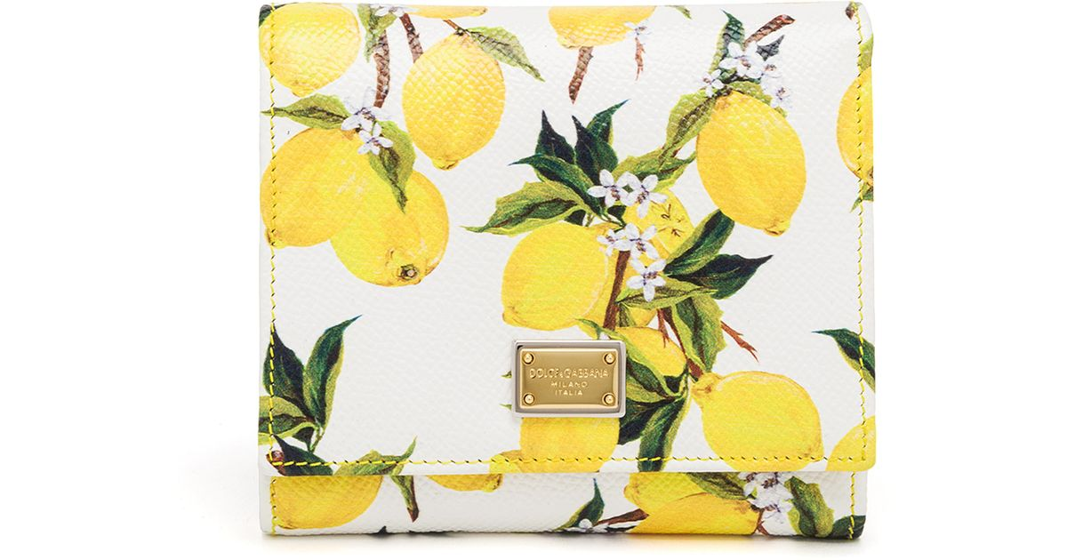 Lyst - Dolce   Gabbana Lemon-print Textured Leather French Flap Wallet in  Green babfe45ceb9b4