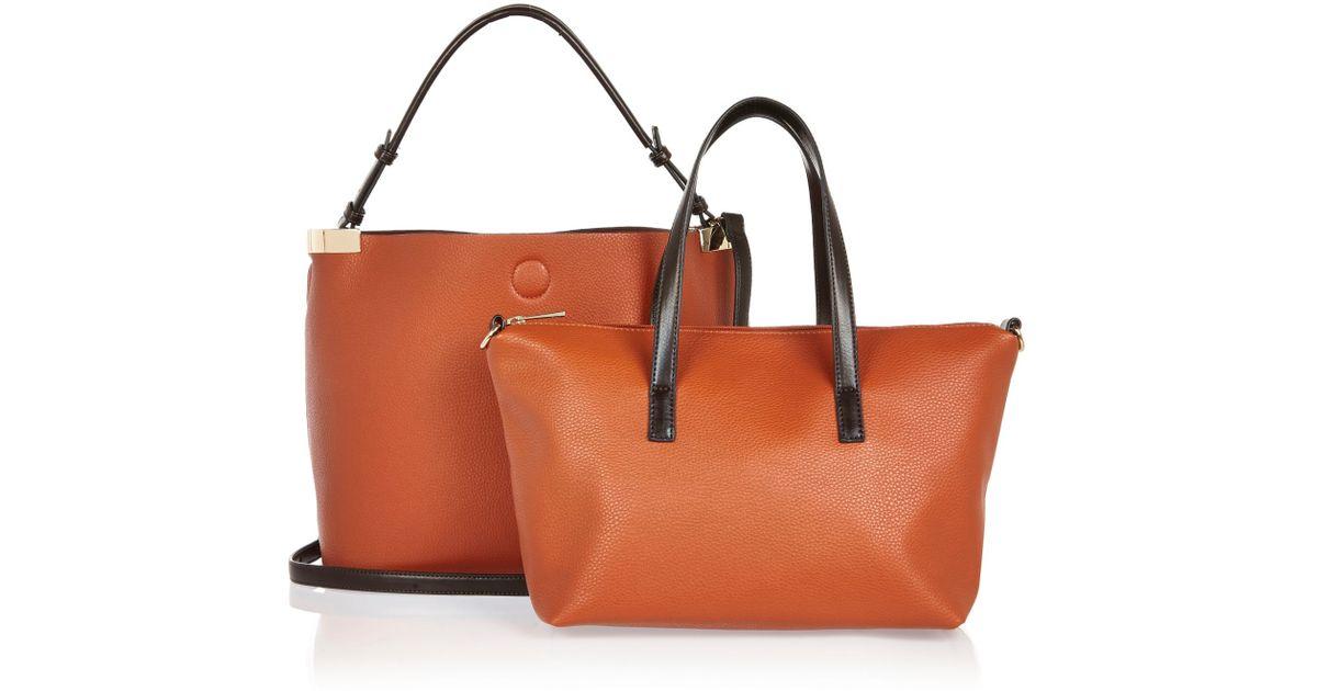 River Island Bag Orange Black Shopper