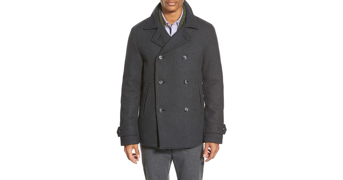 cheapest sale first rate hottest sale Original Penguin Gray Double Breasted Peacoat for men