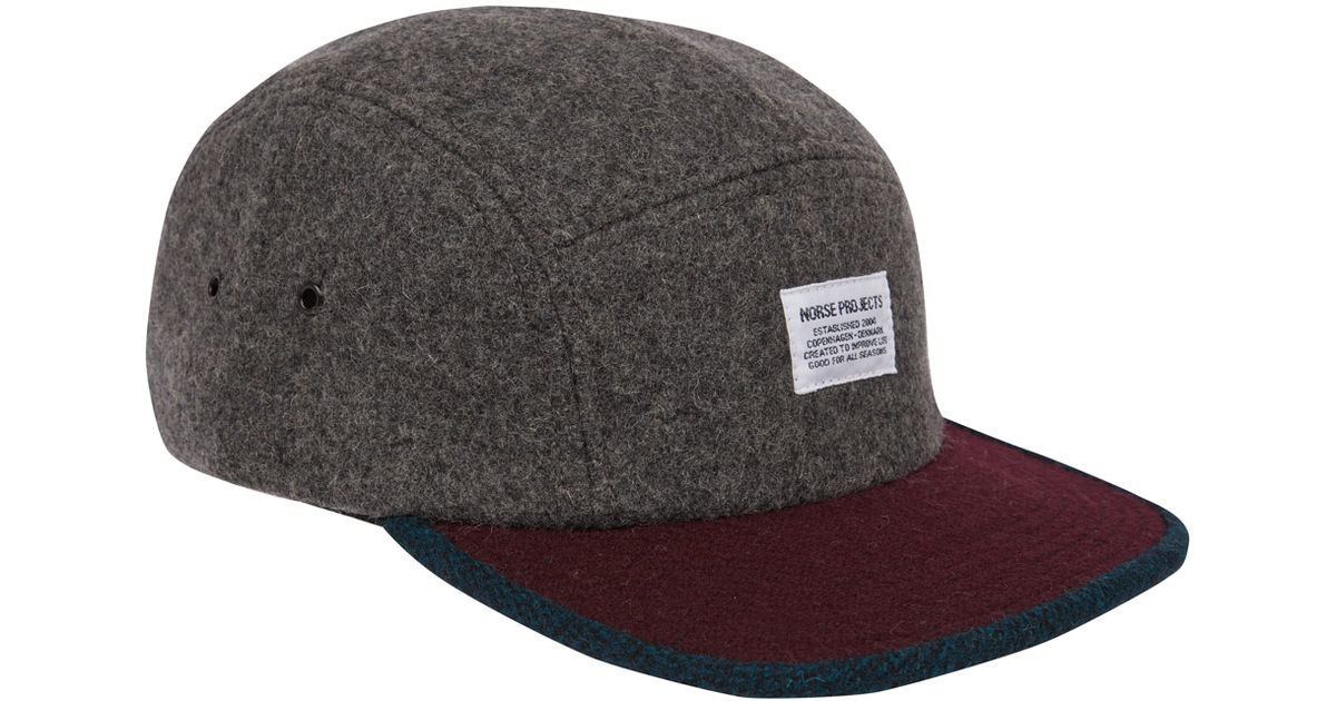 e3881c61765 Norse Projects Charcoal Twotone Five Panel Wool Cap in Gray for Men - Lyst
