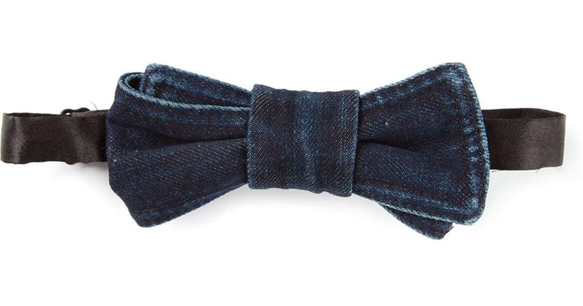 diesel denim bow tie in blue for lyst
