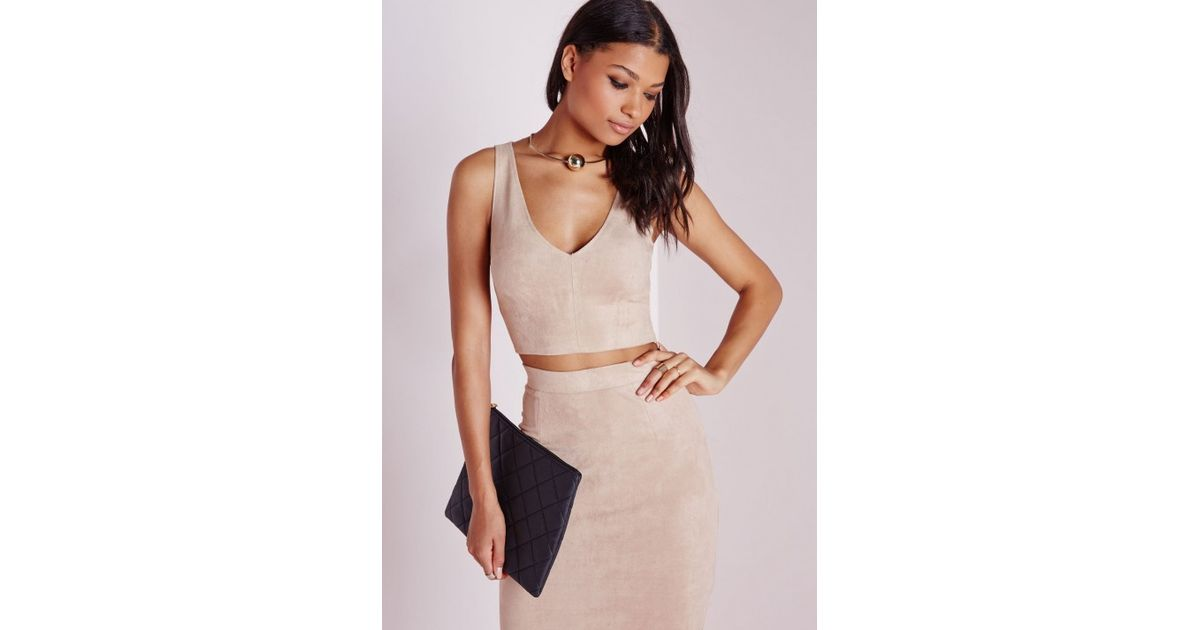 f6be08bcd8e81 Lyst - Missguided Suede Plunge Crop Top Taupe in Brown