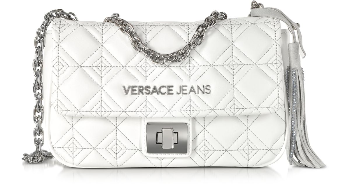 3bc82a9d269 Versace Jeans White Quilted And Embroidered Crossbody Bag in White - Lyst