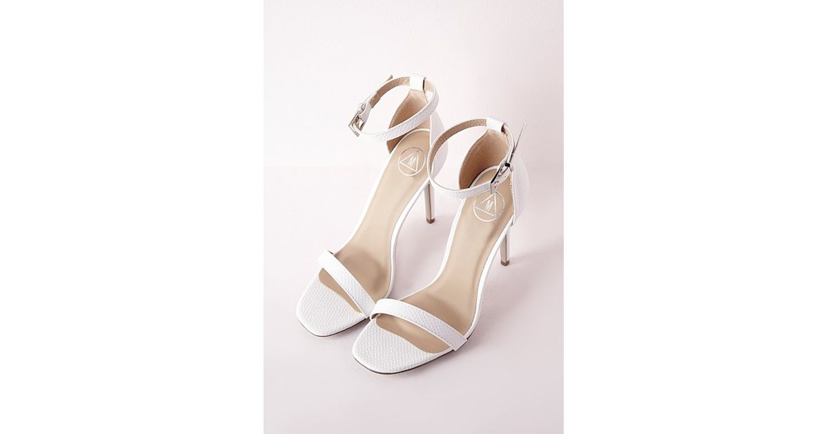 26578c94c028 Lyst - Missguided Barely There Strappy Heeled Sandals White Croc in White