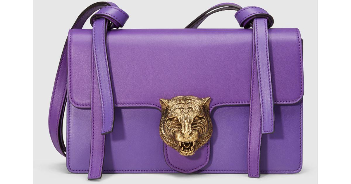 bcd47db08916 Gucci Animalier Leather Shoulder Bag in Metallic - Lyst