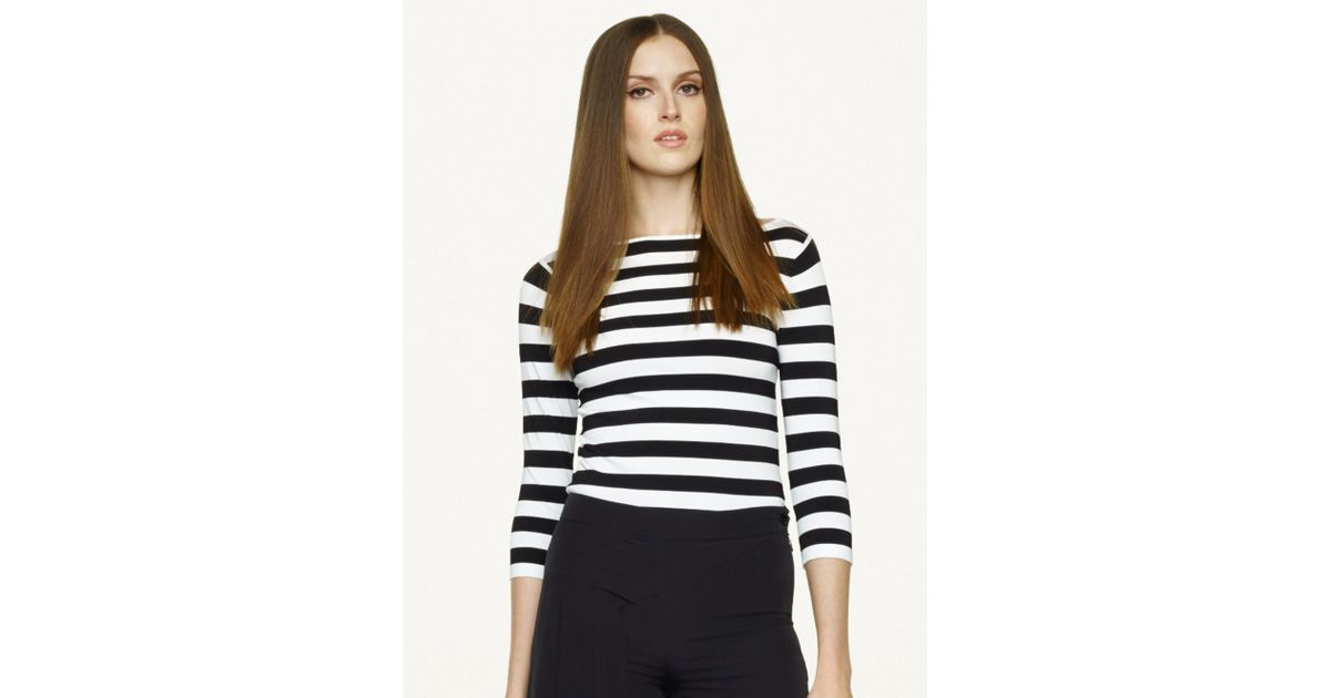 67501b8777 Ralph Lauren Black Label Striped Boatneck Top in White - Lyst