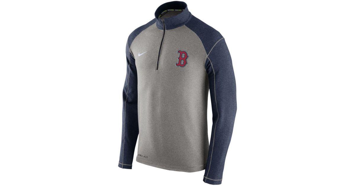 1e92539a46751 Nike Men s Boston Red Sox Dri-fit Touch Half-zip Pullover in Gray for Men -  Lyst