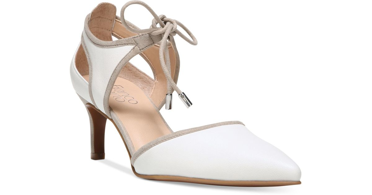 Franco Sarto Darlis Ankle Tie Pointed Toe Pumps In White