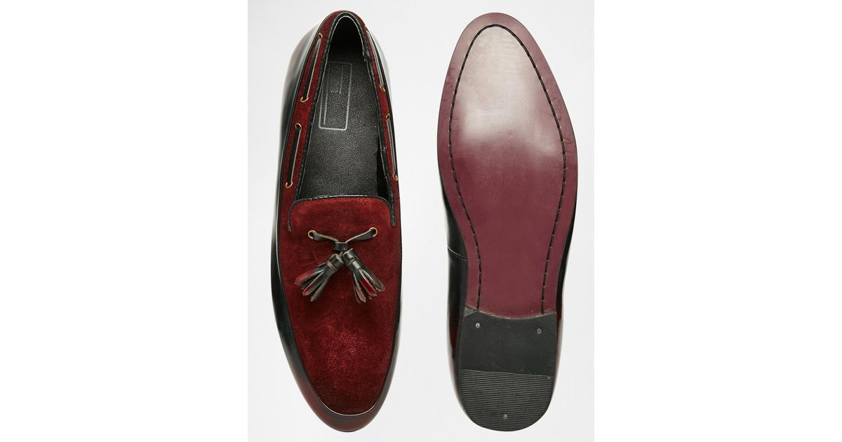 74dd229808e Lyst - ASOS Tassel Loafers In Burgundy Suede And Leather Mix in Red for Men