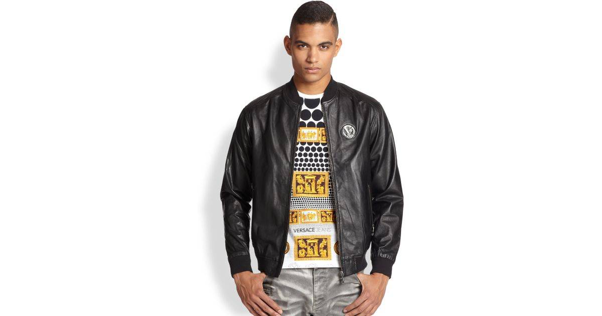 Versace jeans Leather Bomber Jacket in Black for Men | Lyst