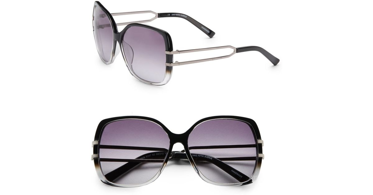 0229522a06d Lyst - Saks Fifth Avenue Claire Oversized Square Plastic Sunglasses in Black