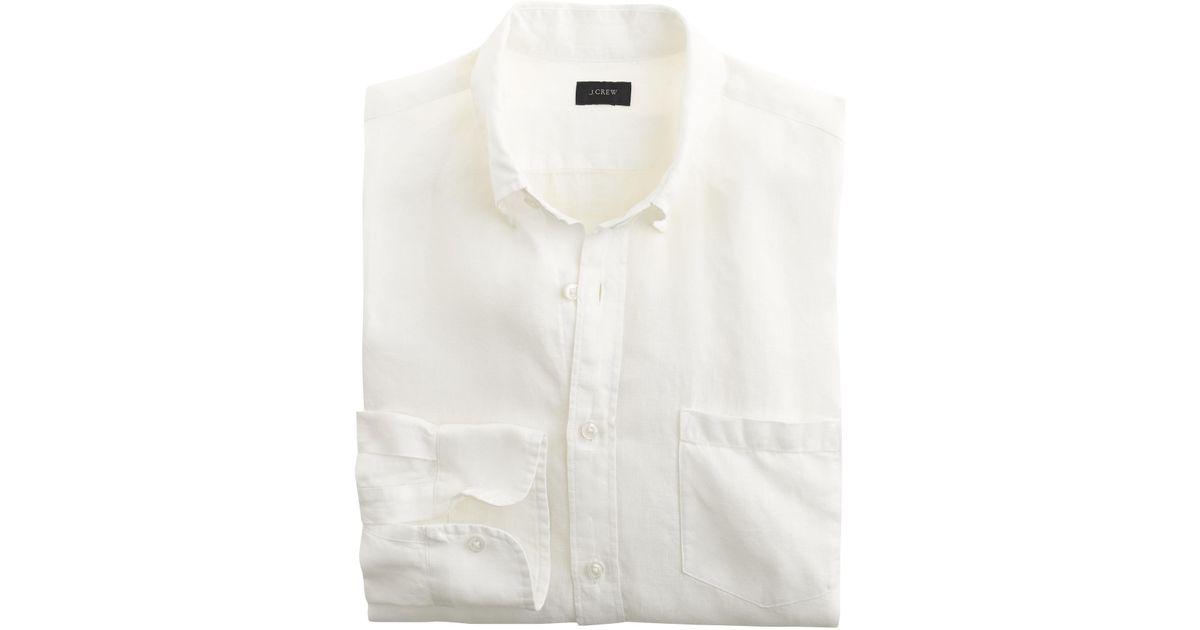 Irish linen shirt in solid in white for men lyst for Irish linen dress shirts